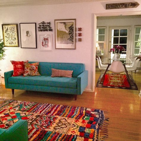 Vintage Boucherouite rug in designer's home in LA