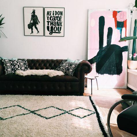 Berber rug in blogger's apartment in Amsterdam