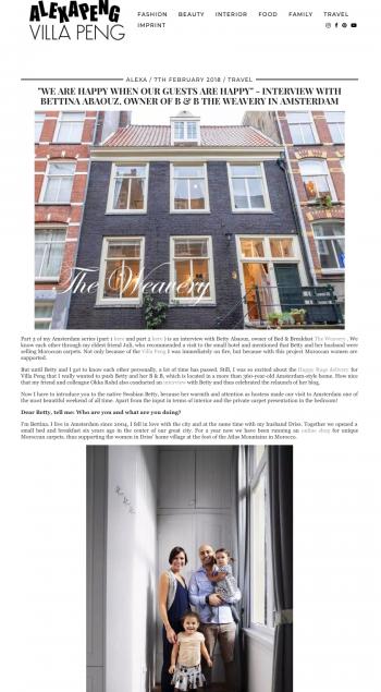 Interview by Alexa von Heyden on her blog 'Alexa Peng'